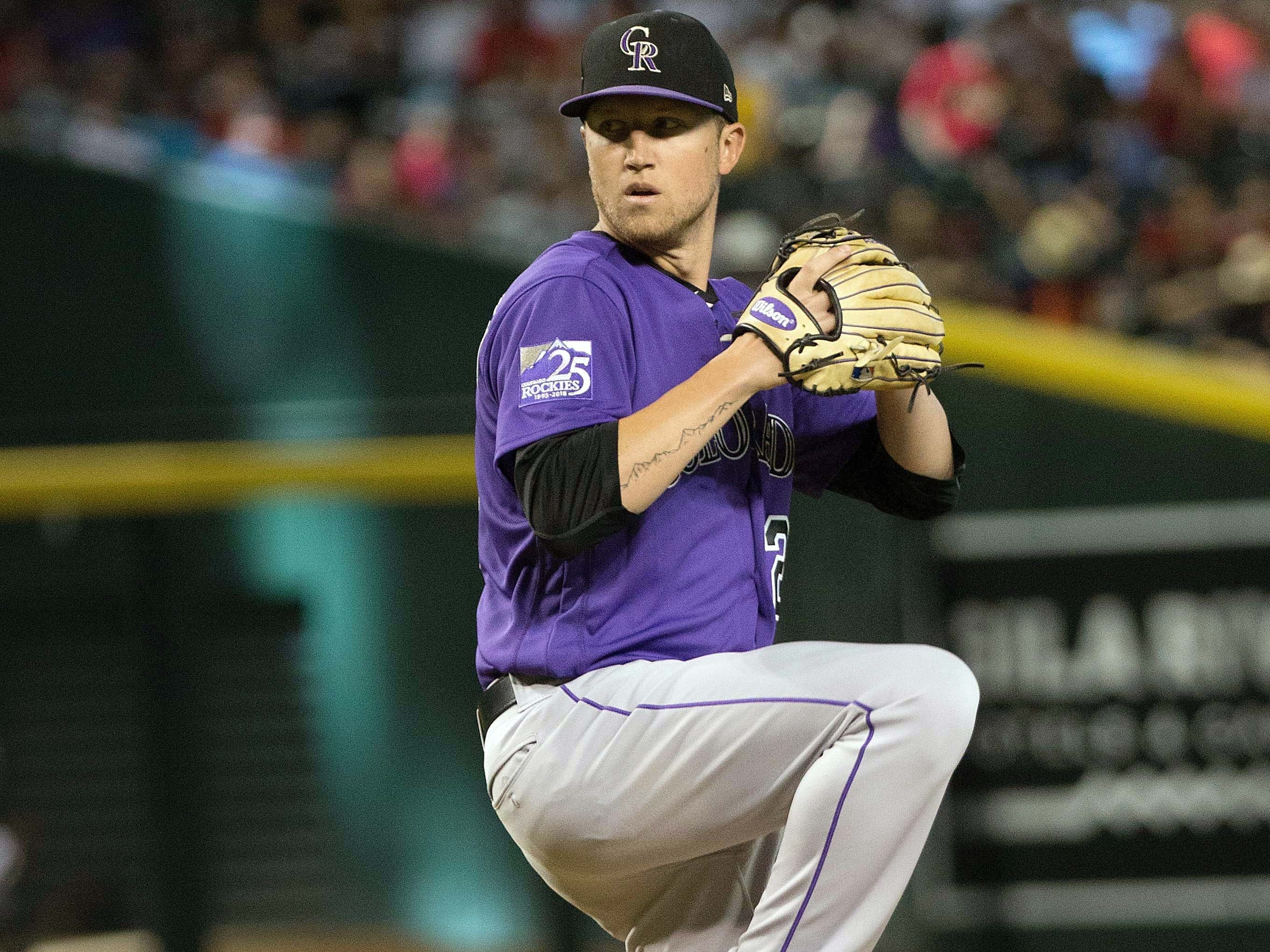 Sep 23, 2018; Phoenix, AZ, USA; Colorado Rockies pitcher Kyle Freeland (21) on the mound during the first inning against the Arizona Diamondbacks at Chase Field. 