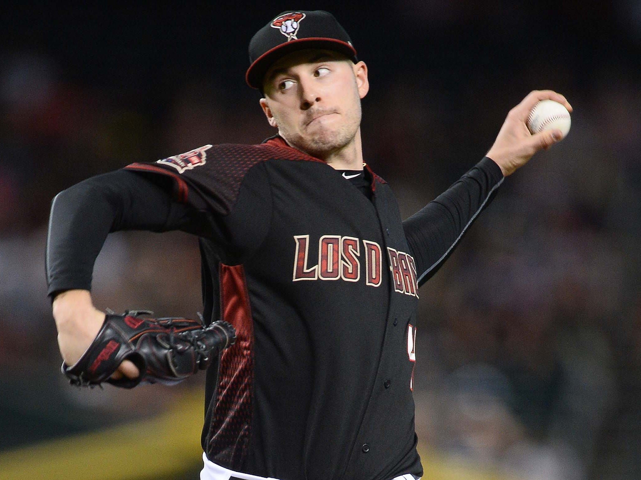 Sep 22, 2018; Phoenix, AZ, USA; Arizona Diamondbacks starting pitcher Patrick Corbin (46) pitches against the Colorado Rockies during the first inning at Chase Field.