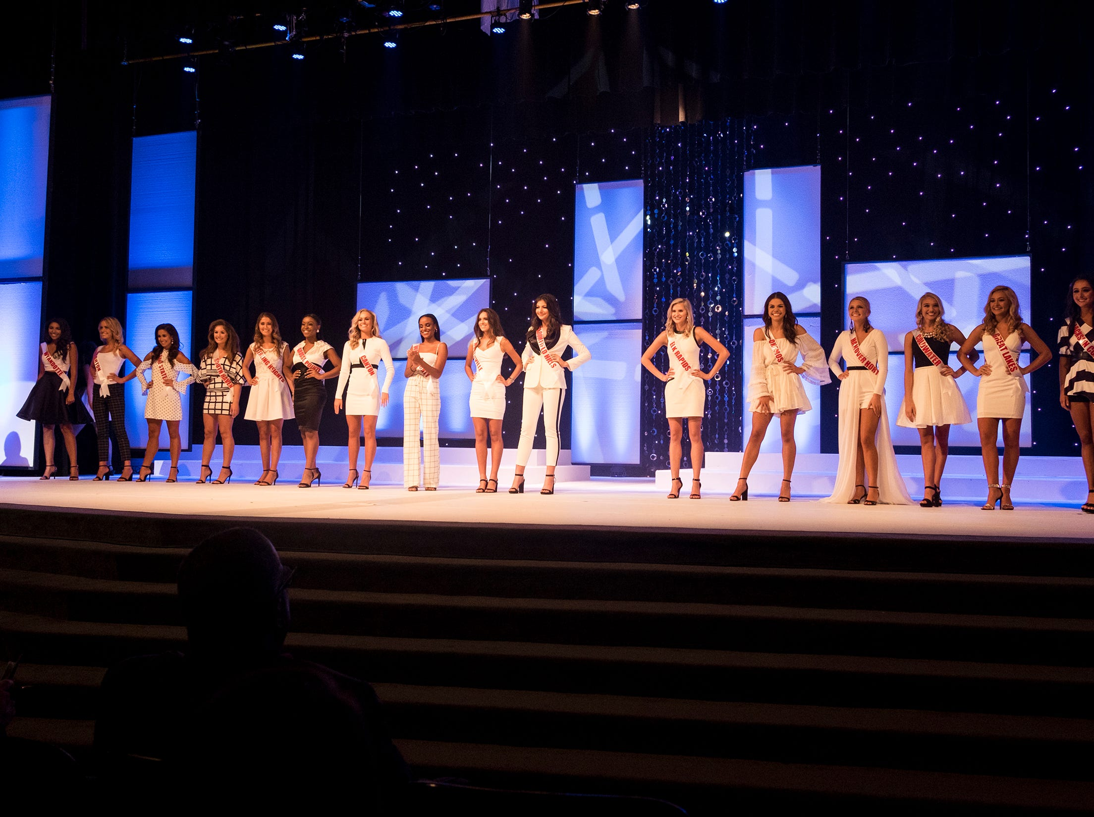 The 16 semifinalists in the Miss Michigan Teen USA pageant line the stage Saturday, Sept. 22, 2018 at McMorran Theater.