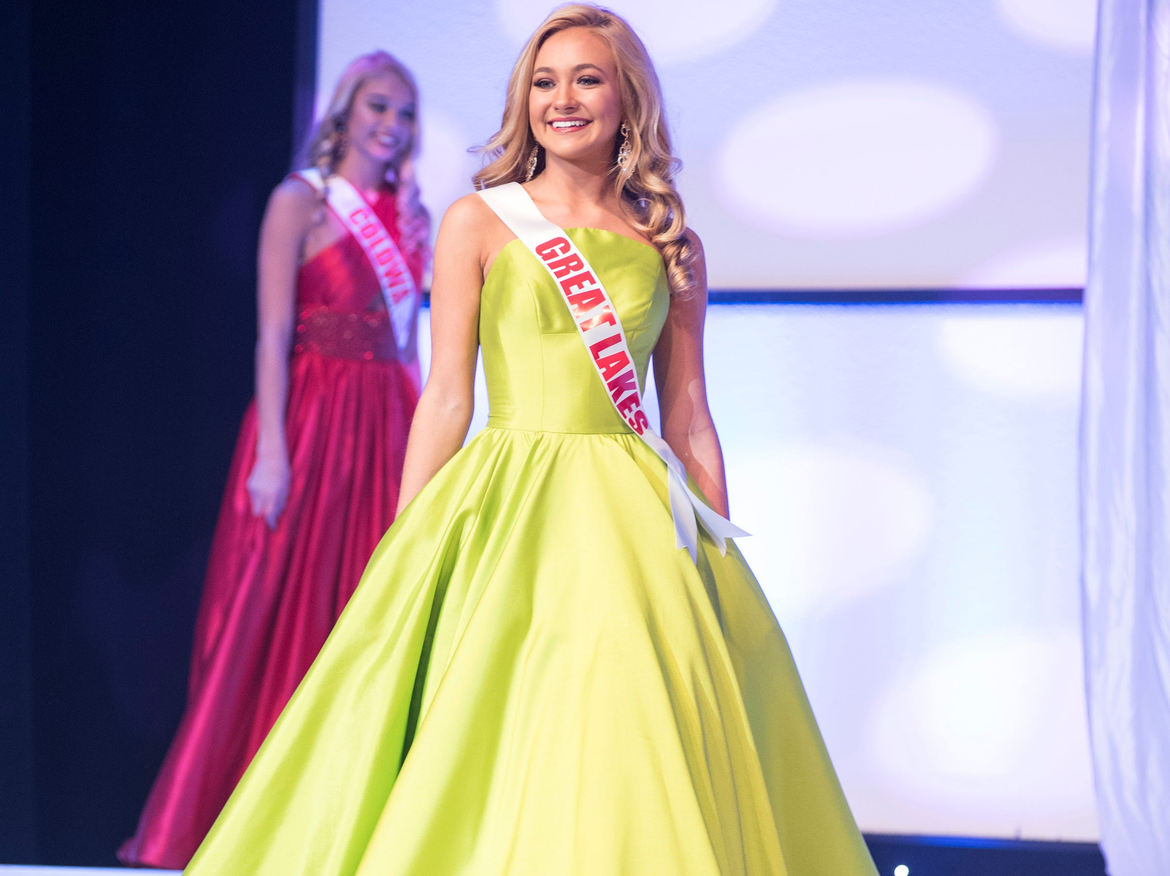 Miss Great Lakes Teen Rebecca Larsen competes in formal wear during the semifinal round of Miss Michigan USA Saturday, Sept. 22, 2018 at McMorran Theater.