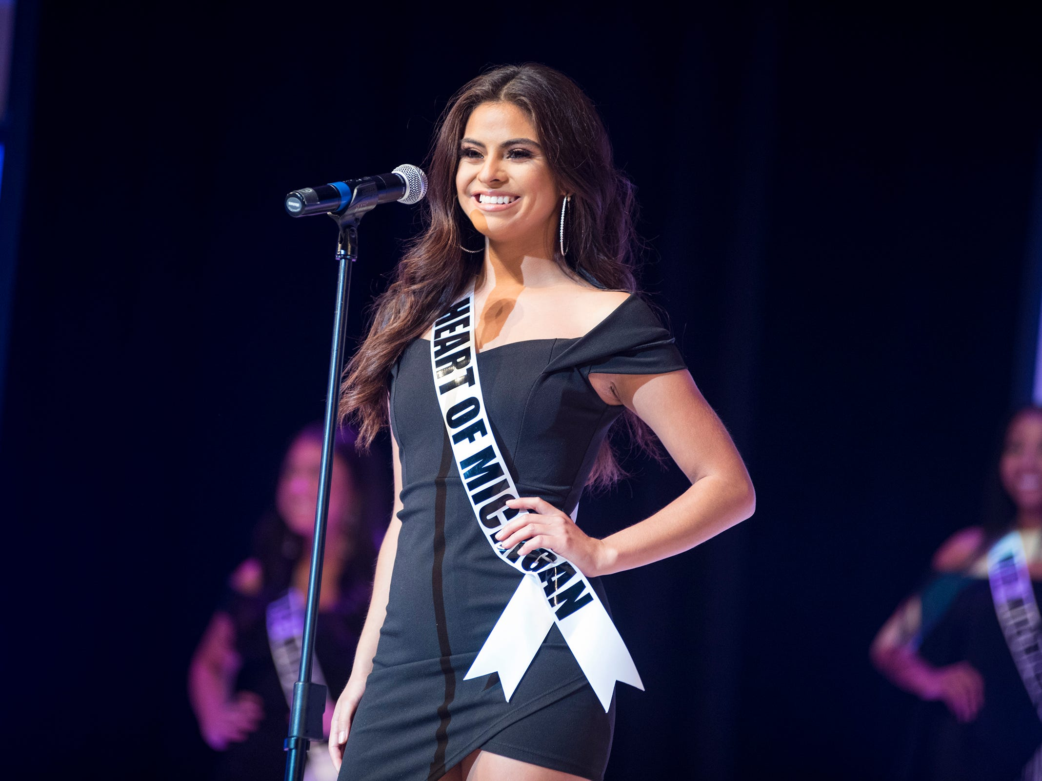 Miss Heart of Michigan Laura Esqueda introduces herself Saturday, Sept. 22, 2018 at the start of the Miss Michigan USA competition at McMorran Theater.