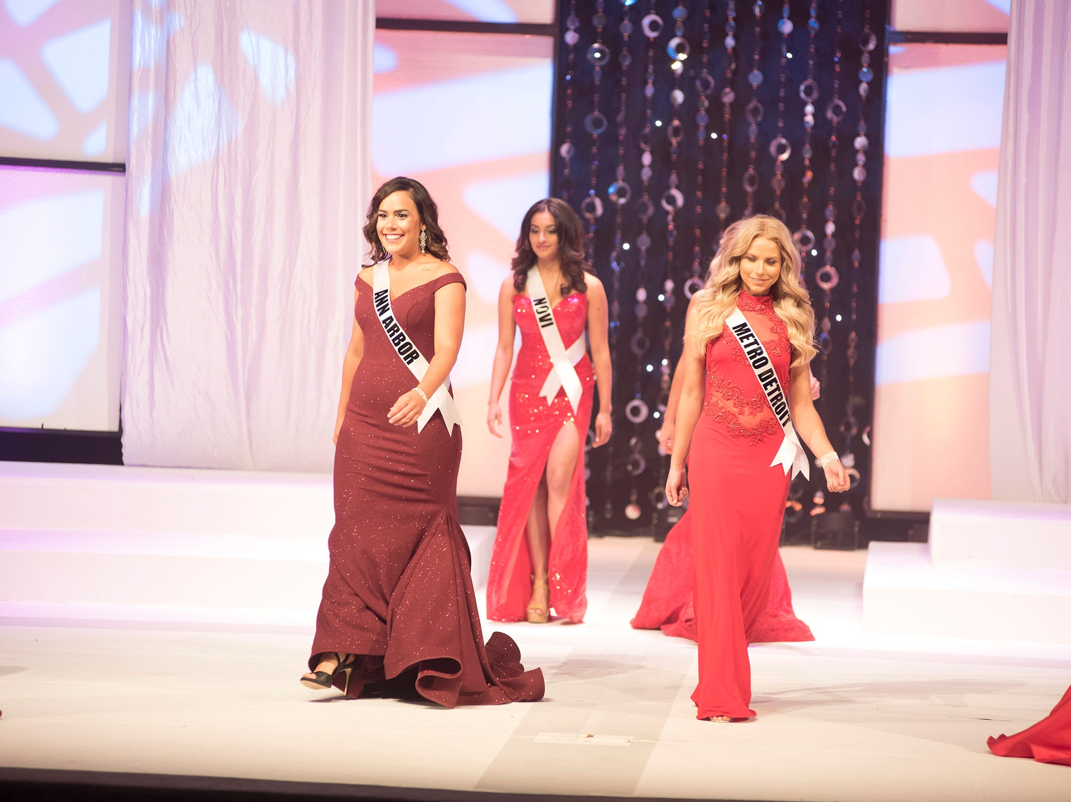 Semifinalists in the Miss Michigan USA pageant compete in formal wear Saturday, Sept. 22, 2018 at McMorran Theater.