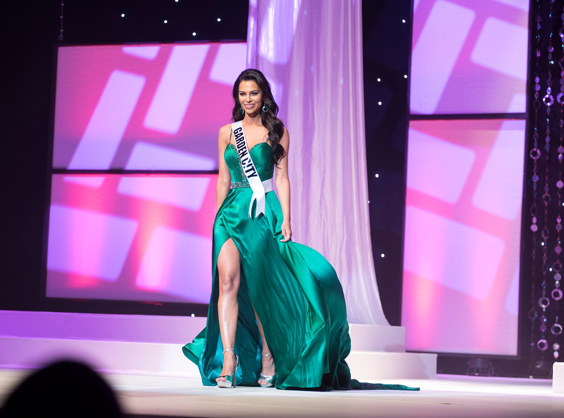 Miss Garden City Alyse Madej competes in formal wear during the semifinal round of Miss Michigan USA Saturday, Sept. 22, 2018 at McMorran Theater.