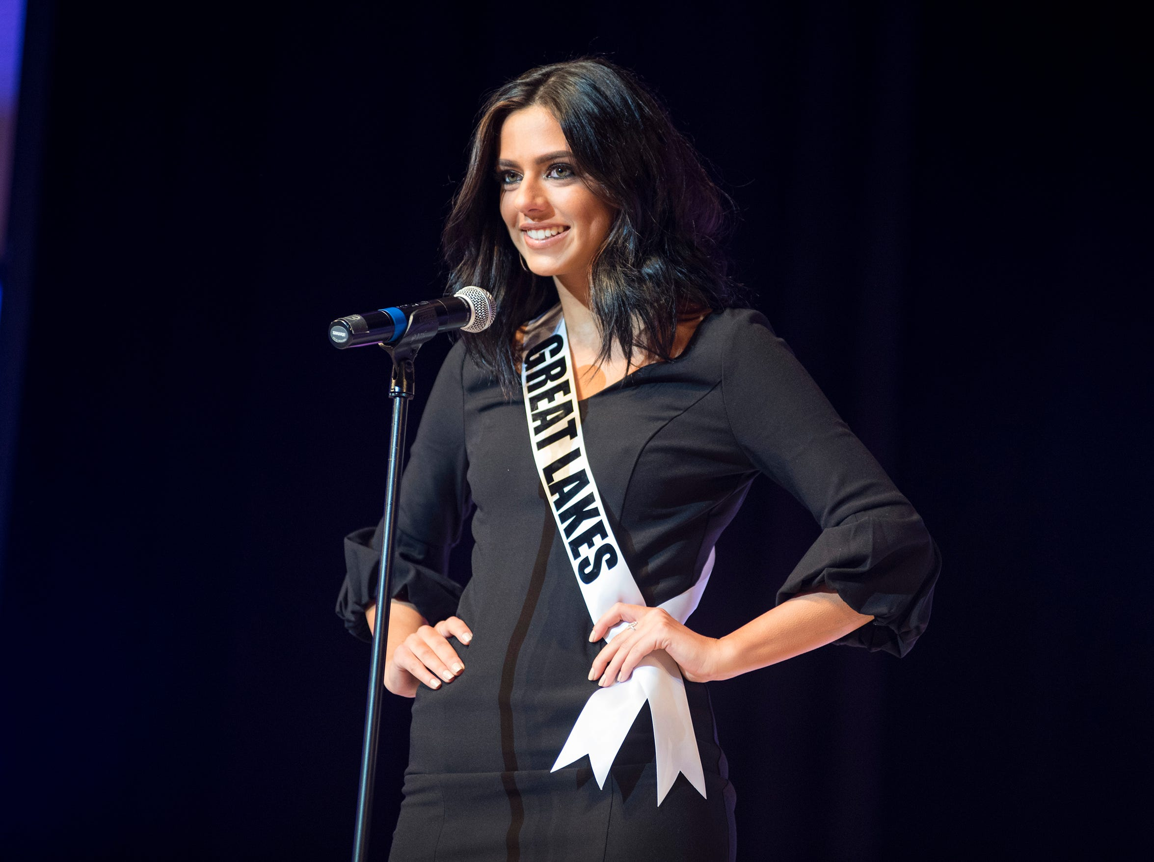 Miss Great Lakes Alexis Weston introduces herself Saturday, Sept. 22, 2018 at the start of the Miss Michigan USA competition at McMorran Theater.