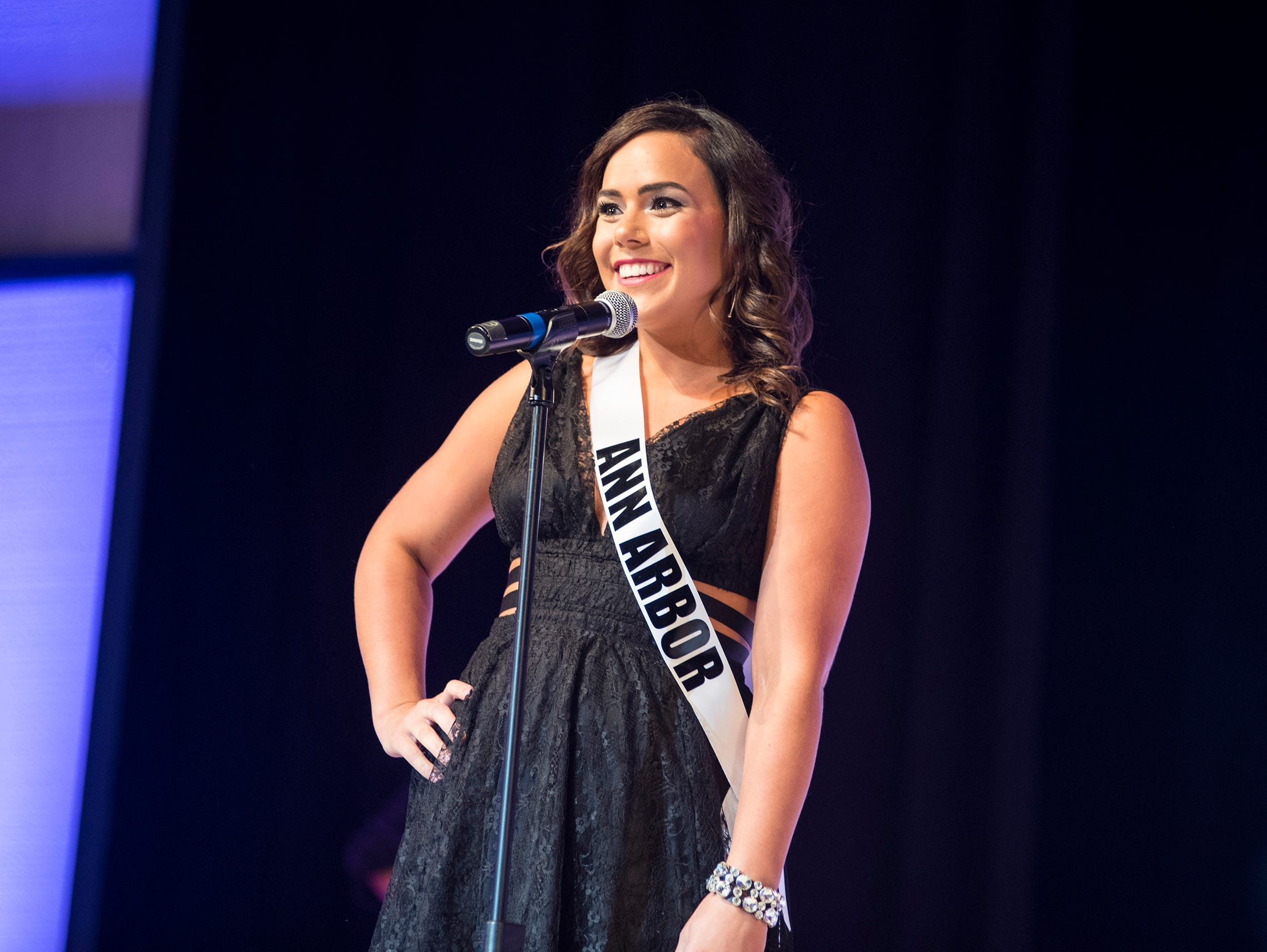 Miss Ann Arbor Laura Mejeur introduces herself Saturday, Sept. 22, 2018 at the start of the Miss Michigan USA competition at McMorran Theater.