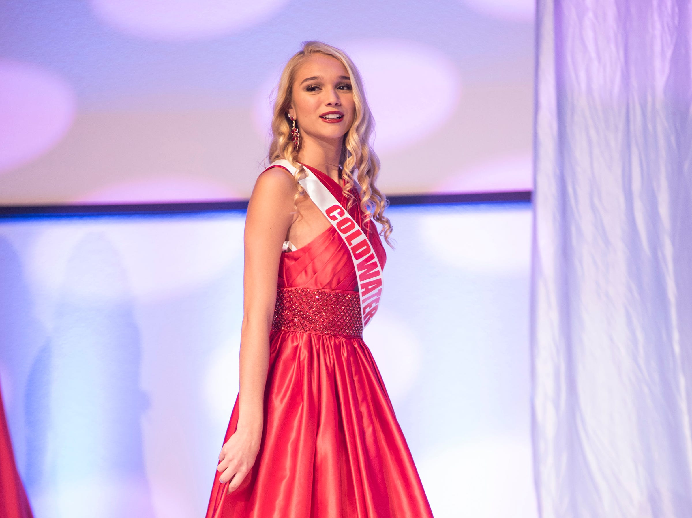 Miss Coldwater Teen Erica Rodgers competes in formal wear during the semifinal round of Miss Michigan Teen USA Saturday, Sept. 22, 2018 at McMorran Theater.