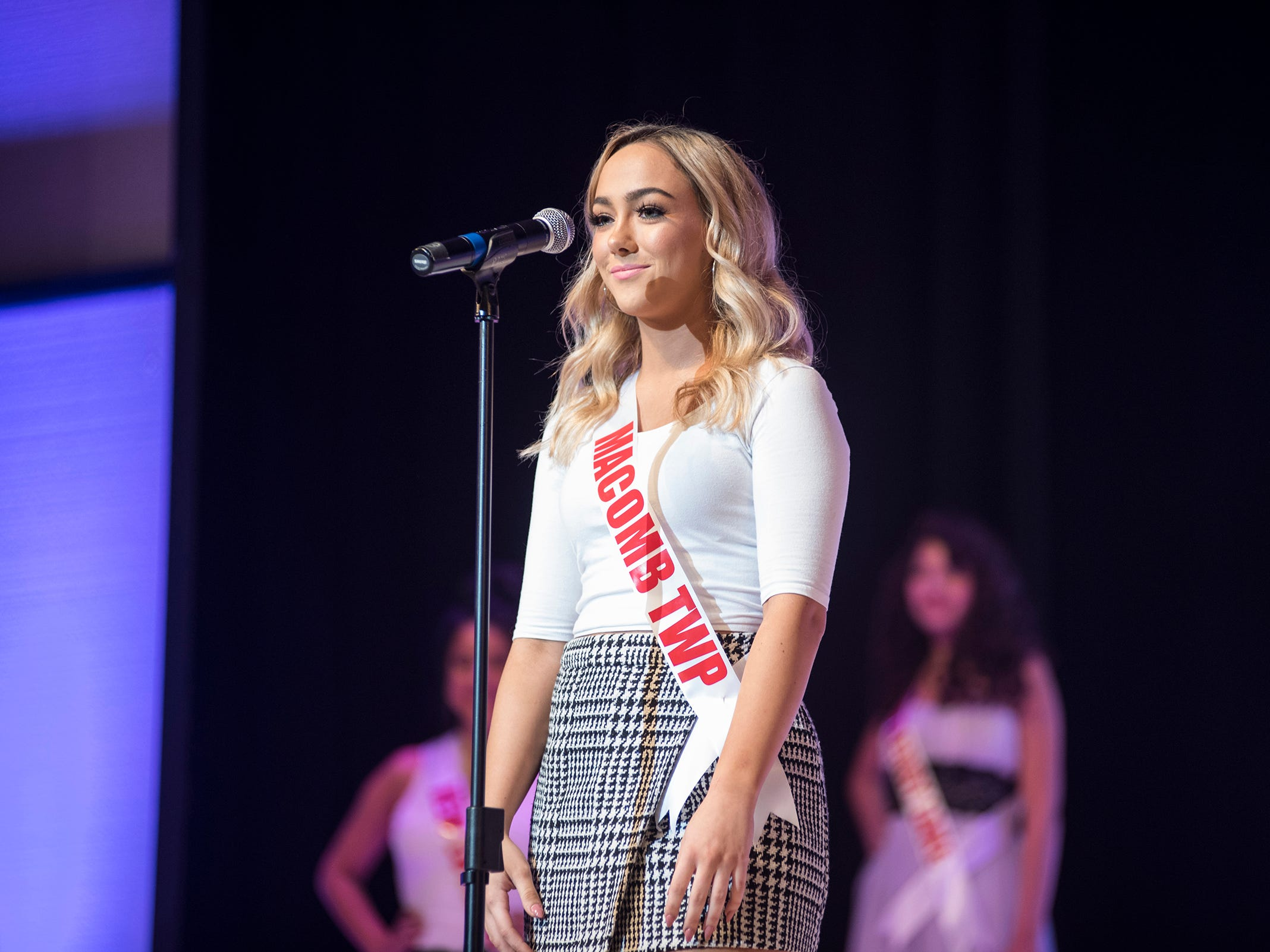 Miss Macomb Township Teen Grace Yeoman introduces herself Saturday, Sept. 22, 2018 at the start of the Miss Michigan Teen USA competition at McMorran Theater.