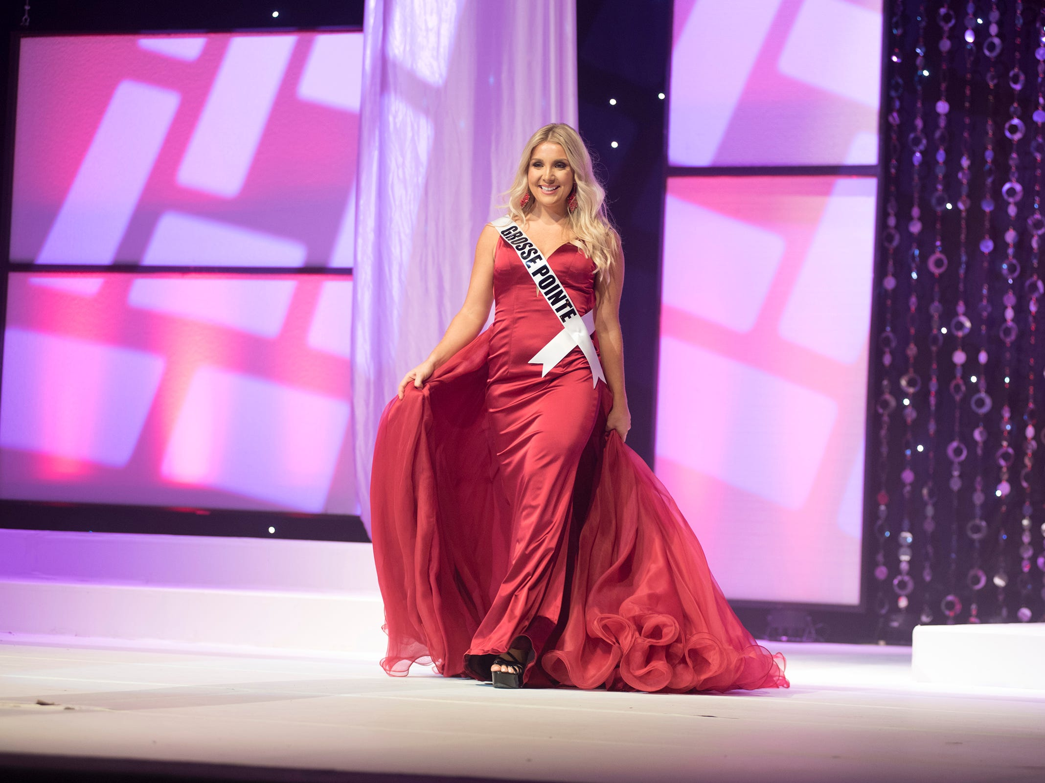 Miss Grosse Pointe Hailey Urbach competes in formal wear during the semifinal round of Miss Michigan USA Saturday, Sept. 22, 2018 at McMorran Theater.