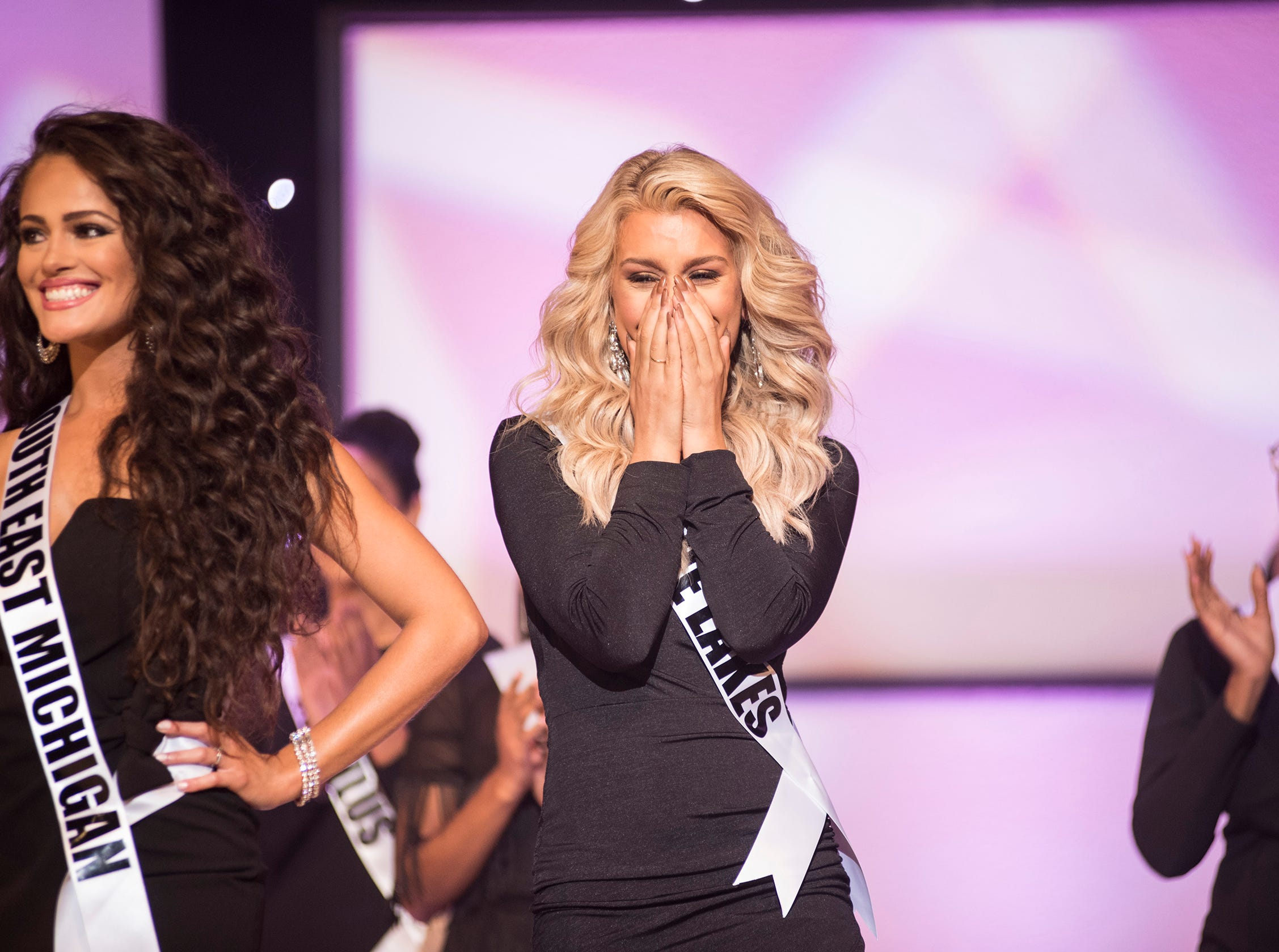 Miss Blue Lakes Emily Stevenson reacts to being selected for the semifinal round of the Miss Michigan USA pageant Saturday, Sept. 22, 2018 at McMorran Theater.