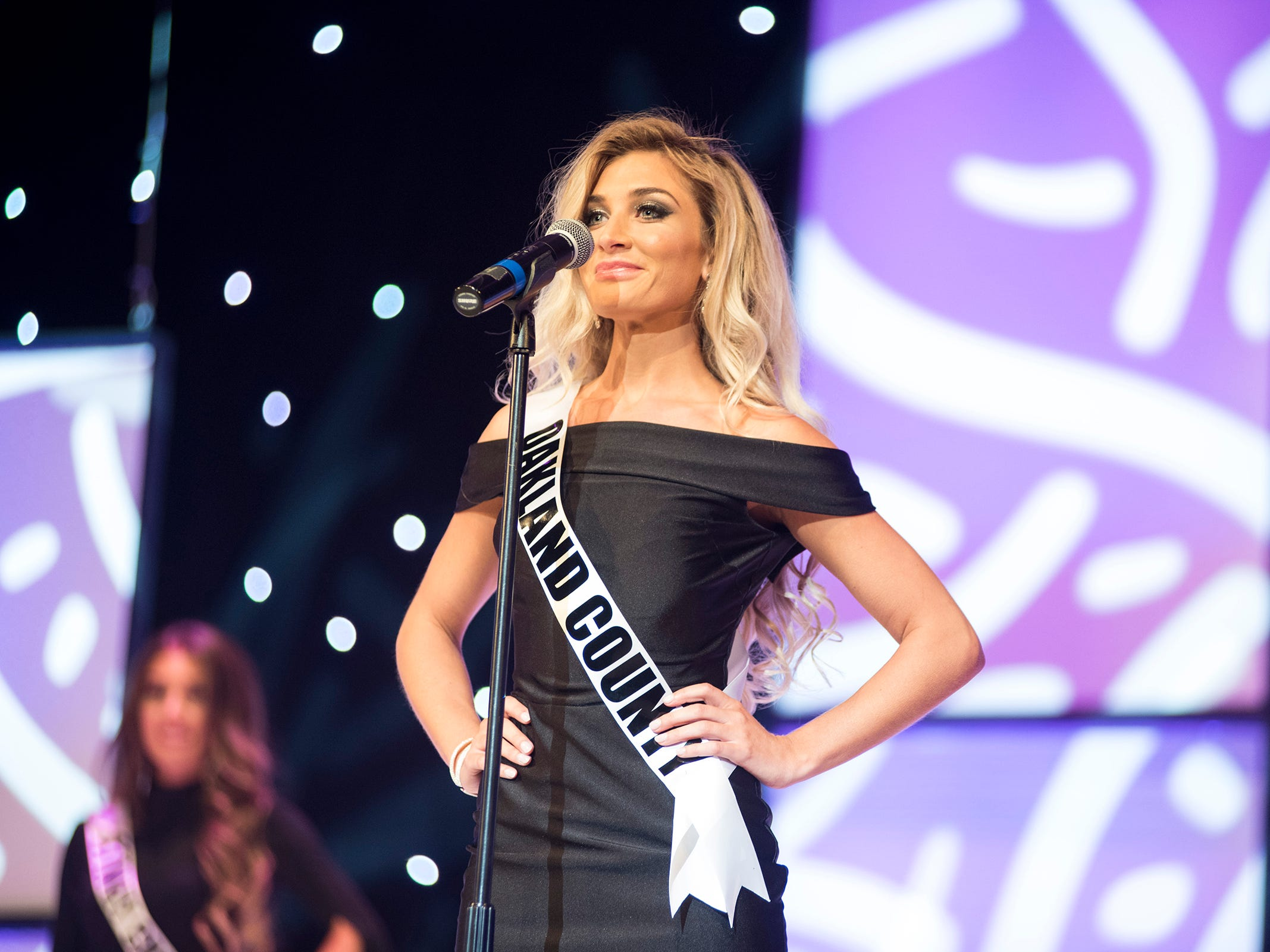 Miss Oakland County Katelyn Curthoys introduces herself Saturday, Sept. 22, 2018 at the start of the Miss Michigan USA competition at McMorran Theater.