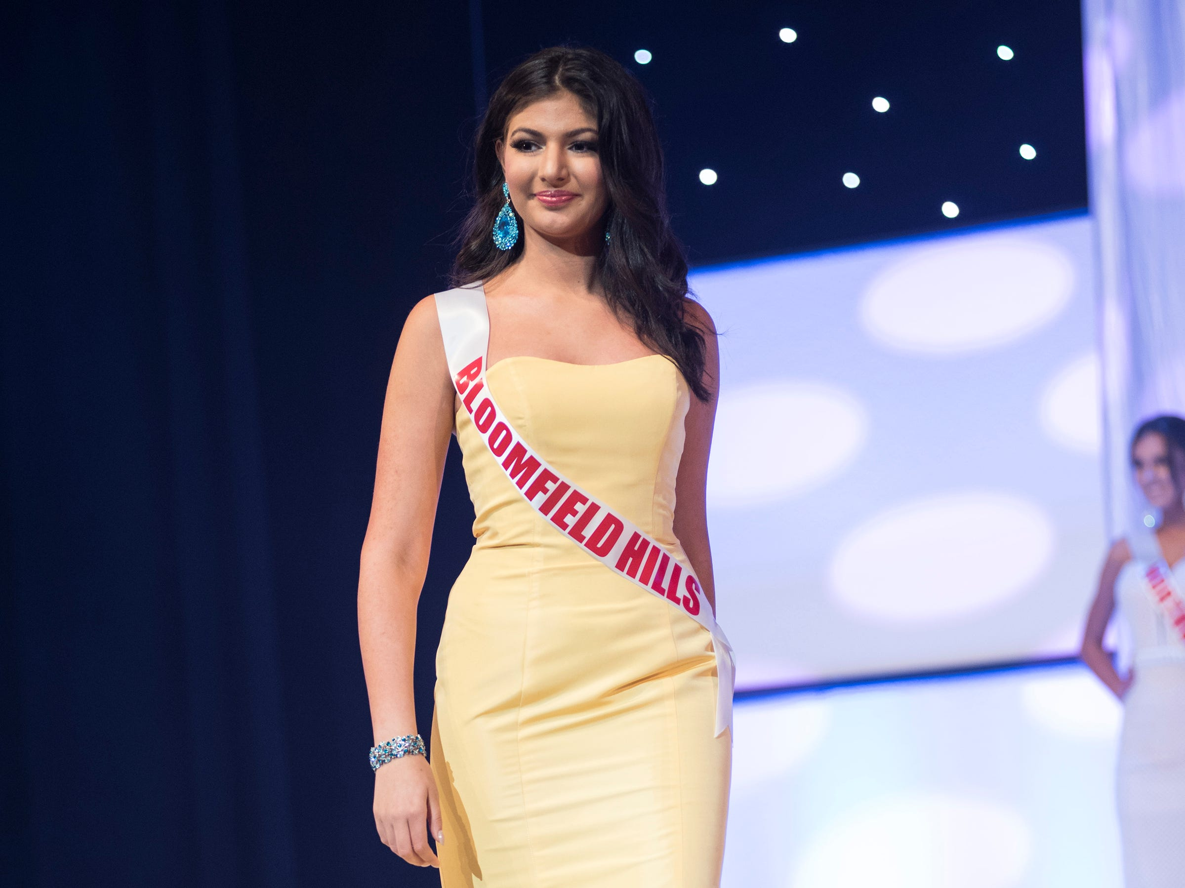 Miss Bloomfield Hills Teen Shahrazad Louis  competes in formal wear during the semifinal round of Miss Michigan Teen USA Saturday, Sept. 22, 2018 at McMorran Theater.
