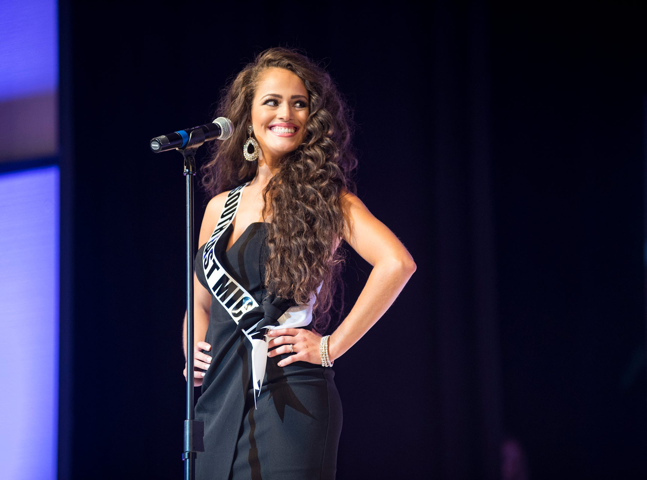Miss Southeast Michigan Taylor Sherman introduces herself Saturday, Sept. 22, 2018 at the start of the Miss Michigan USA competition at McMorran Theater.