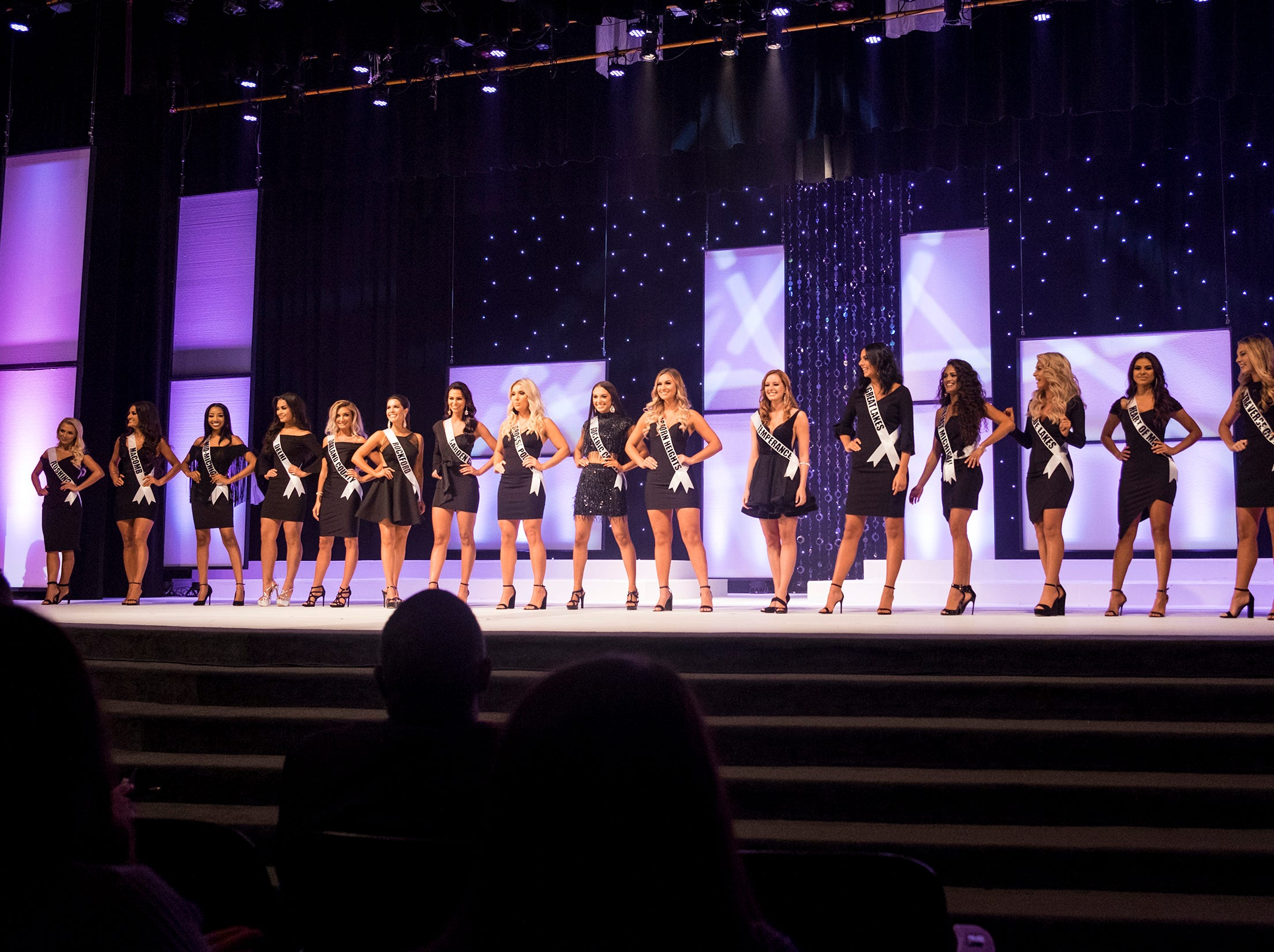 The 16 semifinalists in the Miss Michigan USA pageant line the stage Saturday, Sept. 22, 2018 at McMorran Theater.