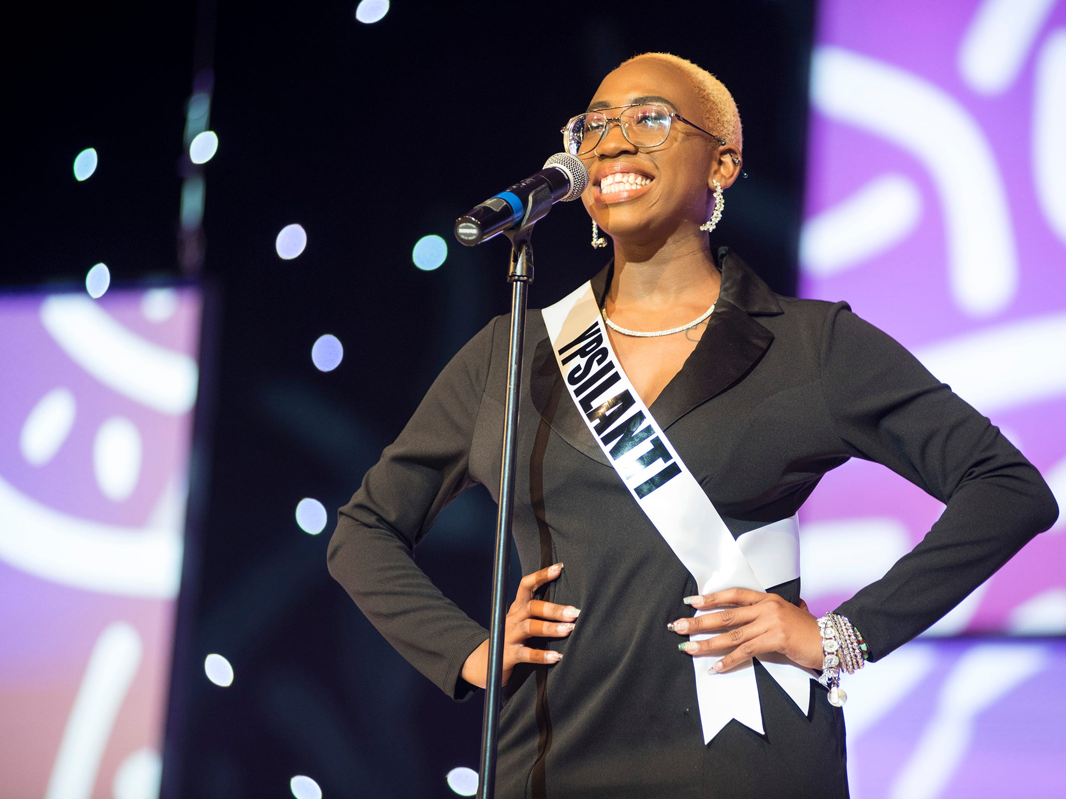 Miss Ypsilanti Khadija Williams introduces herself Saturday, Sept. 22, 2018 at the start of the Miss Michigan USA competition at McMorran Theater.