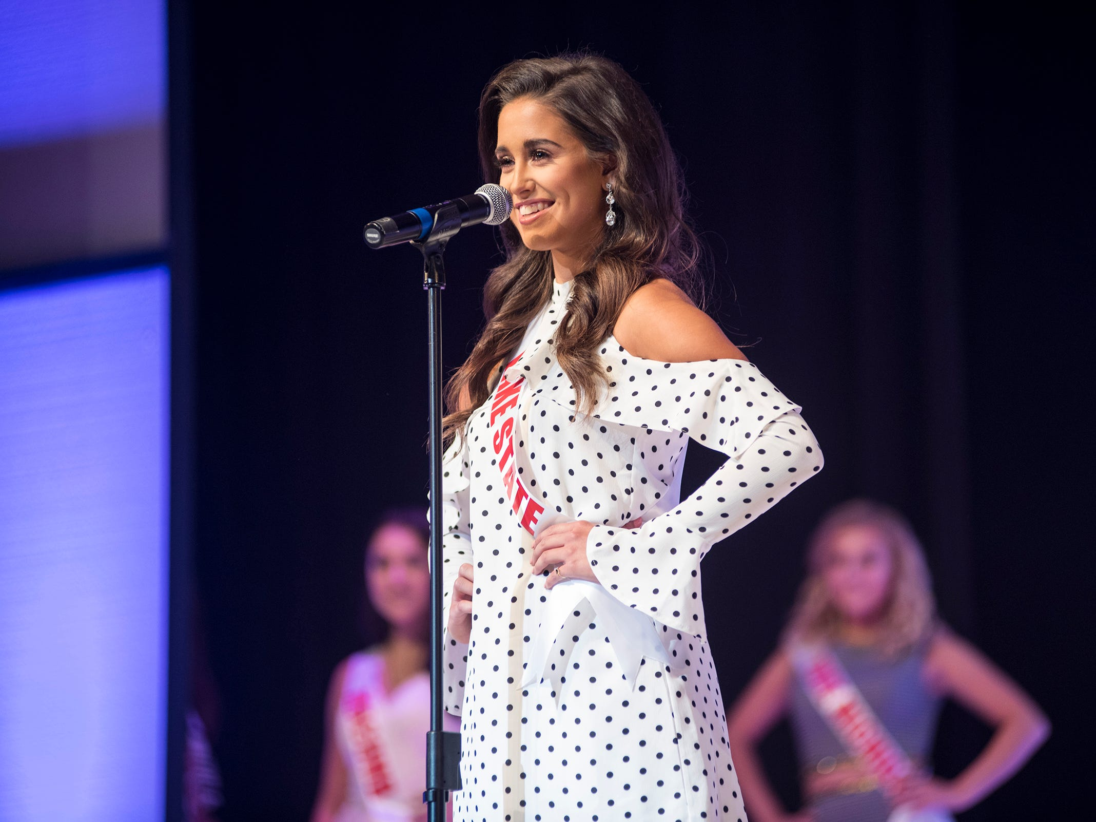 Miss Lake State Teen Keri Martin introduces herself Saturday, Sept. 22, 2018 at the start of the Miss Michigan Teen USA competition at McMorran Theater.