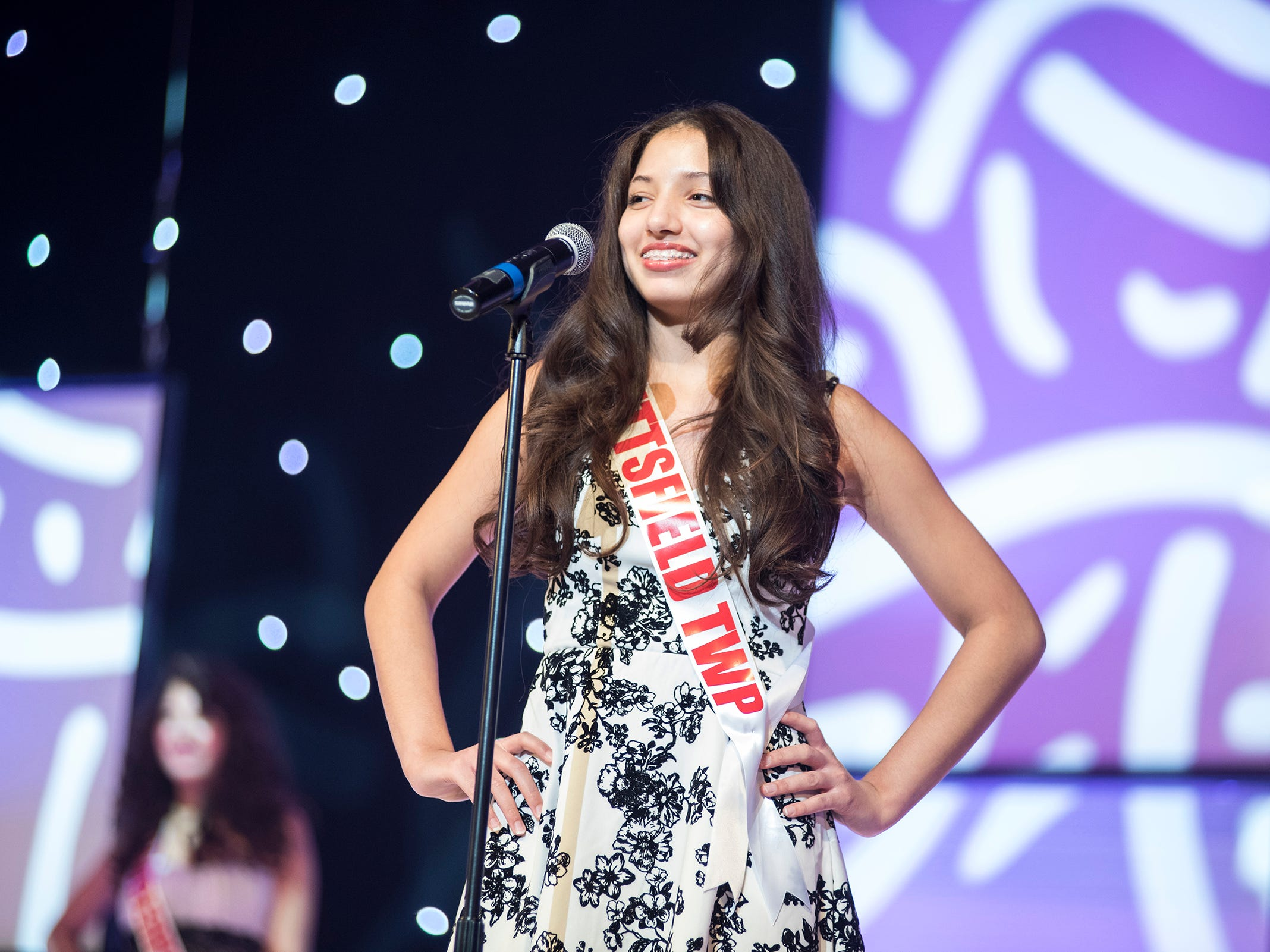 Miss Pittsfield Township Teen Rose Oliverio introduces herself Saturday, Sept. 22, 2018 at the start of the Miss Michigan Teen USA competition at McMorran Theater.