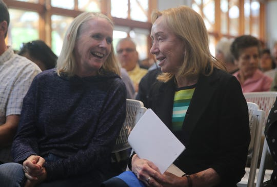Chandler Roosevelt Lindsley (left), great granddaughter of FDR, speaks with biographer Doris Kearns Goodwin (right) before her talk at the FDR Library on Saturday. She travelled from Dallas for the event.