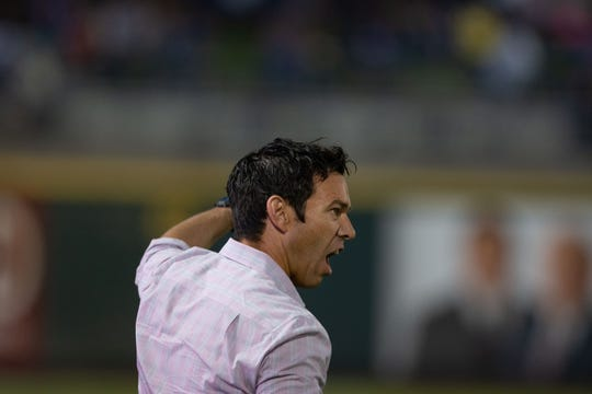 Reno 1868 FCcoach Ian Russell yells durng the  USL match against Las Vegas Lights FC on Saturday, Sept. 22, 2018 at Greater Nevada Field in downtown Reno.