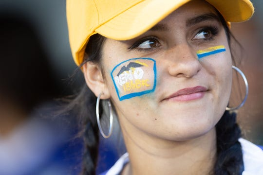 A fan watches the game between Reno 1868 FC and Las Vegas Lights FC on Saturday, Sept. 22, 2018 at Greater Nevada Field in downtown Reno.