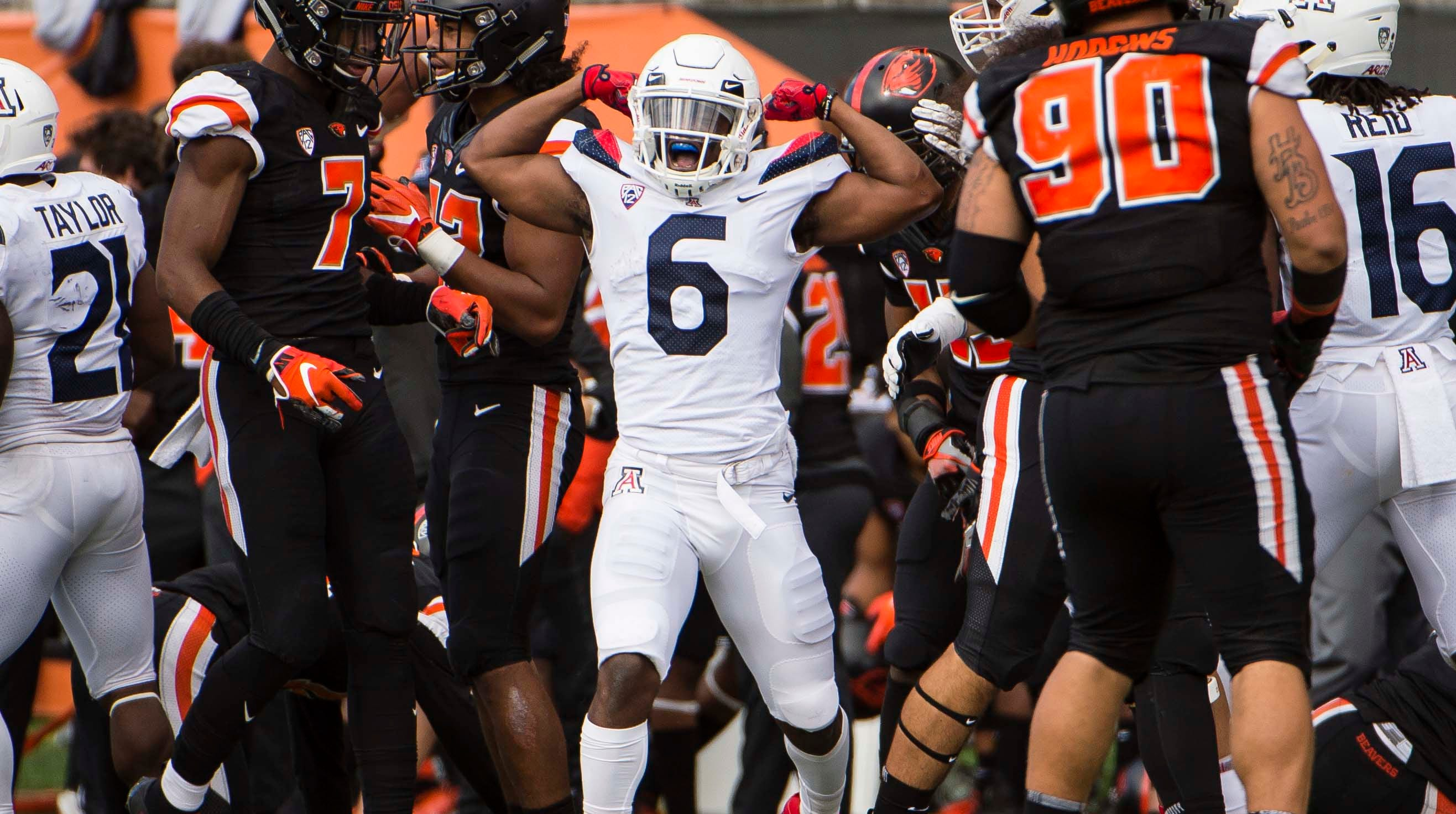 Sep 22, 2018; Corvallis, OR, USA; Arizona Wildcats wide receiver Shun Brown (6) celebrates after picking up a first down during the second half against the Oregon State Beavers at Reser Stadium. The Arizona Wildcats won 35-14. Mandatory Credit: Troy Wayrynen-USA TODAY Sports