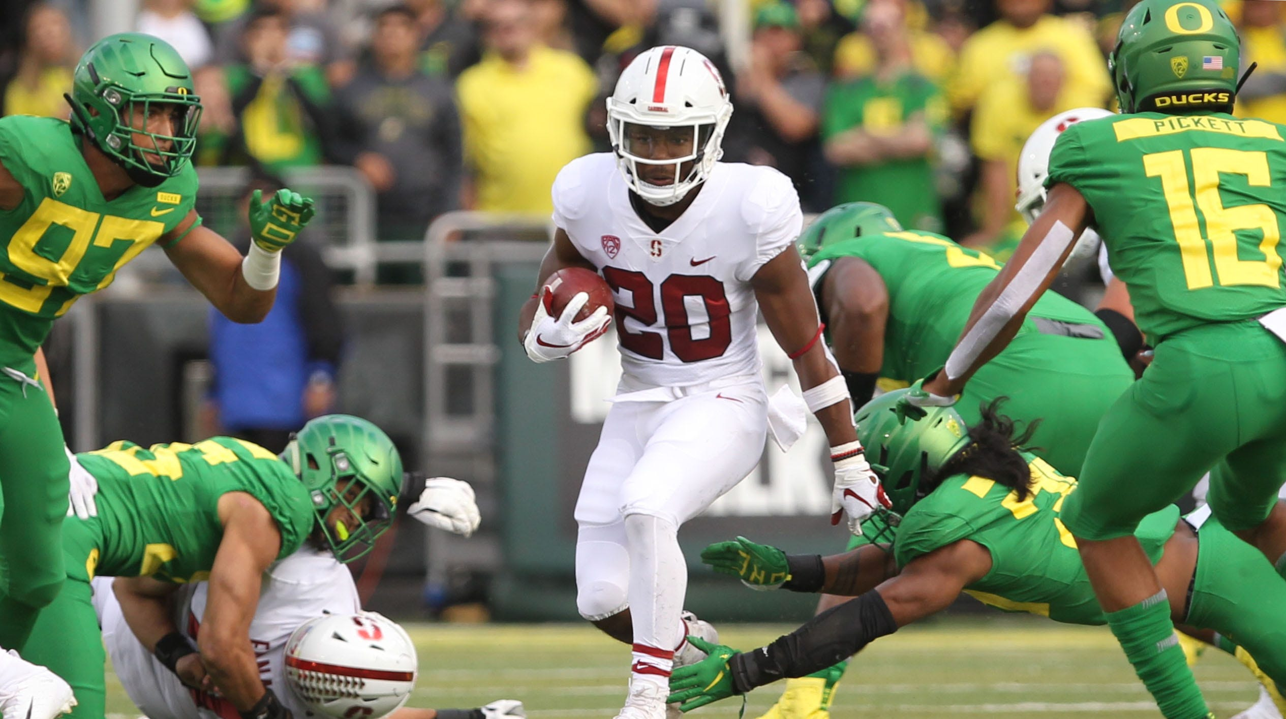 Sep 22, 2018; Eugene, OR, USA; Stanford Cardinal running back Bryce Love (20) runs  against the Oregon Ducks in the first half at Autzen Stadium. Mandatory Credit: Jaime Valdez-USA TODAY Sports