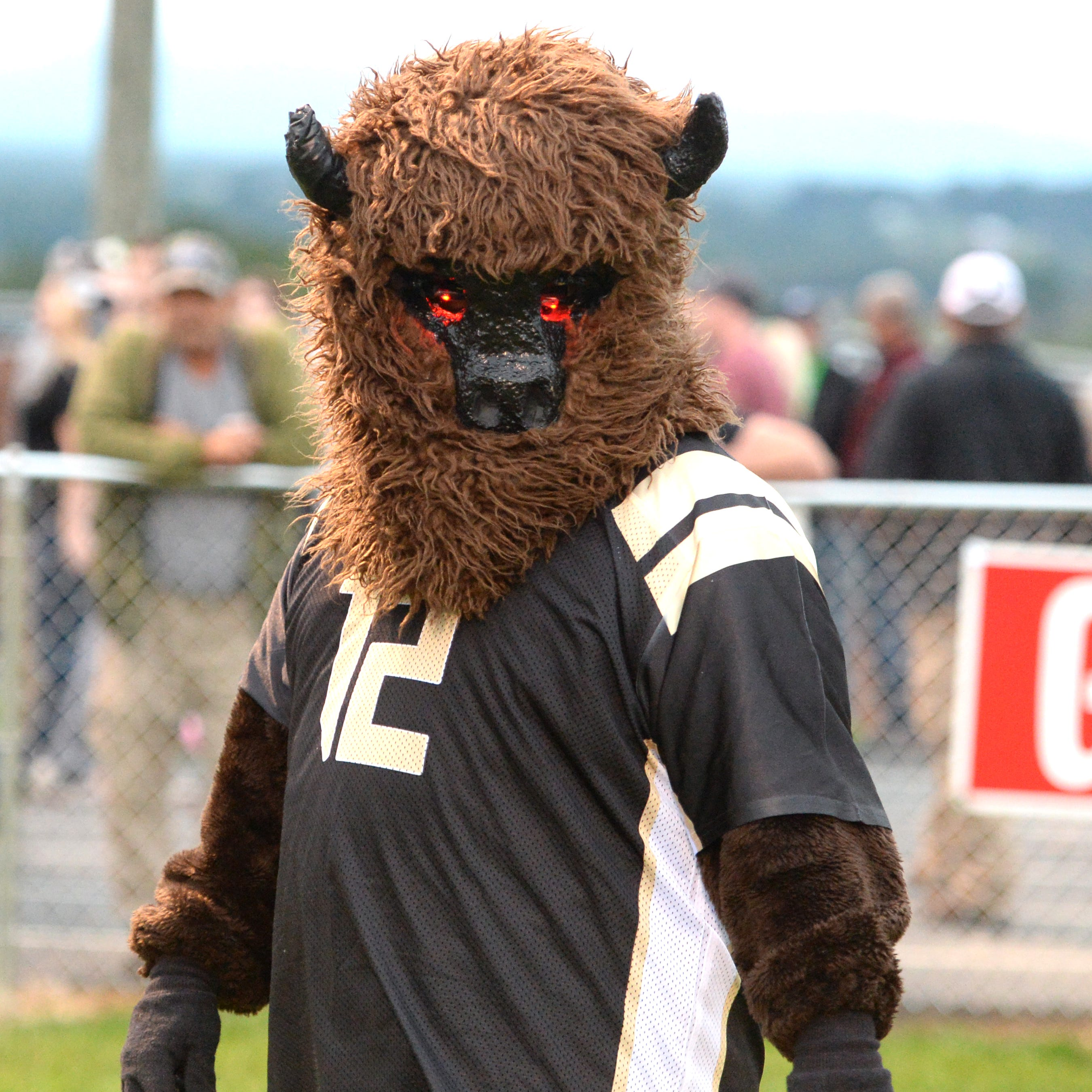 The Bison mascot is ready for the game between Buffalo Gap and Riverheads Saturday.