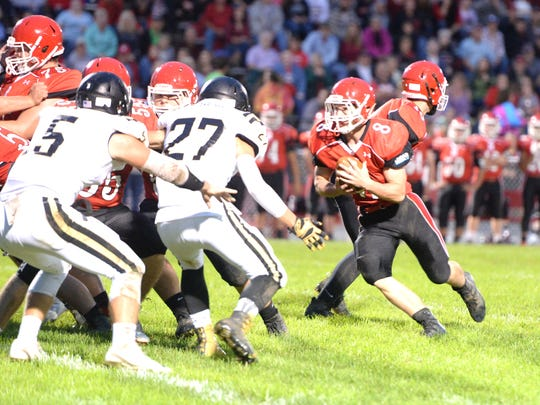 Riverheads' Zac Smiley tries to find some running room Saturday against the Buffalo Gap defense.