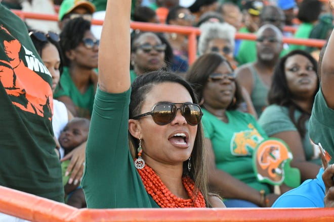 The First Lady of FAMU football, Shaia Simmons, cheers for the Rattlers as they take on the Savannah State.