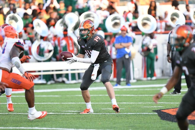 FAMU quarterback Ryan Stanley takes a snap versus Savannah State.