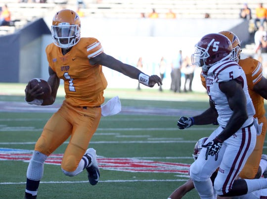 UTEP quarterback Kai Locksley in action against NMSU Saturday night.