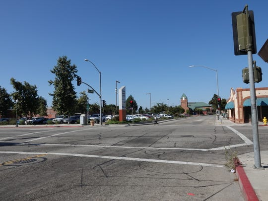 Looking north on Meta Street at Fifth Street in Oxnard, where a man was killed by an SUV, police say, possibly after a dispute. The Oxnard Transit Center tower is visible at rear.