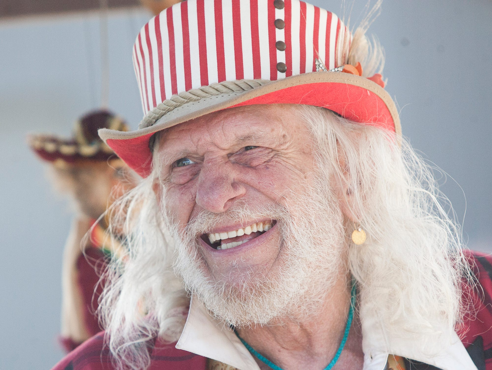"Doug ""The Peddler Man"" Friedlander plies his wares to customers during A Day at the Rancho at the Olivas Adobe."