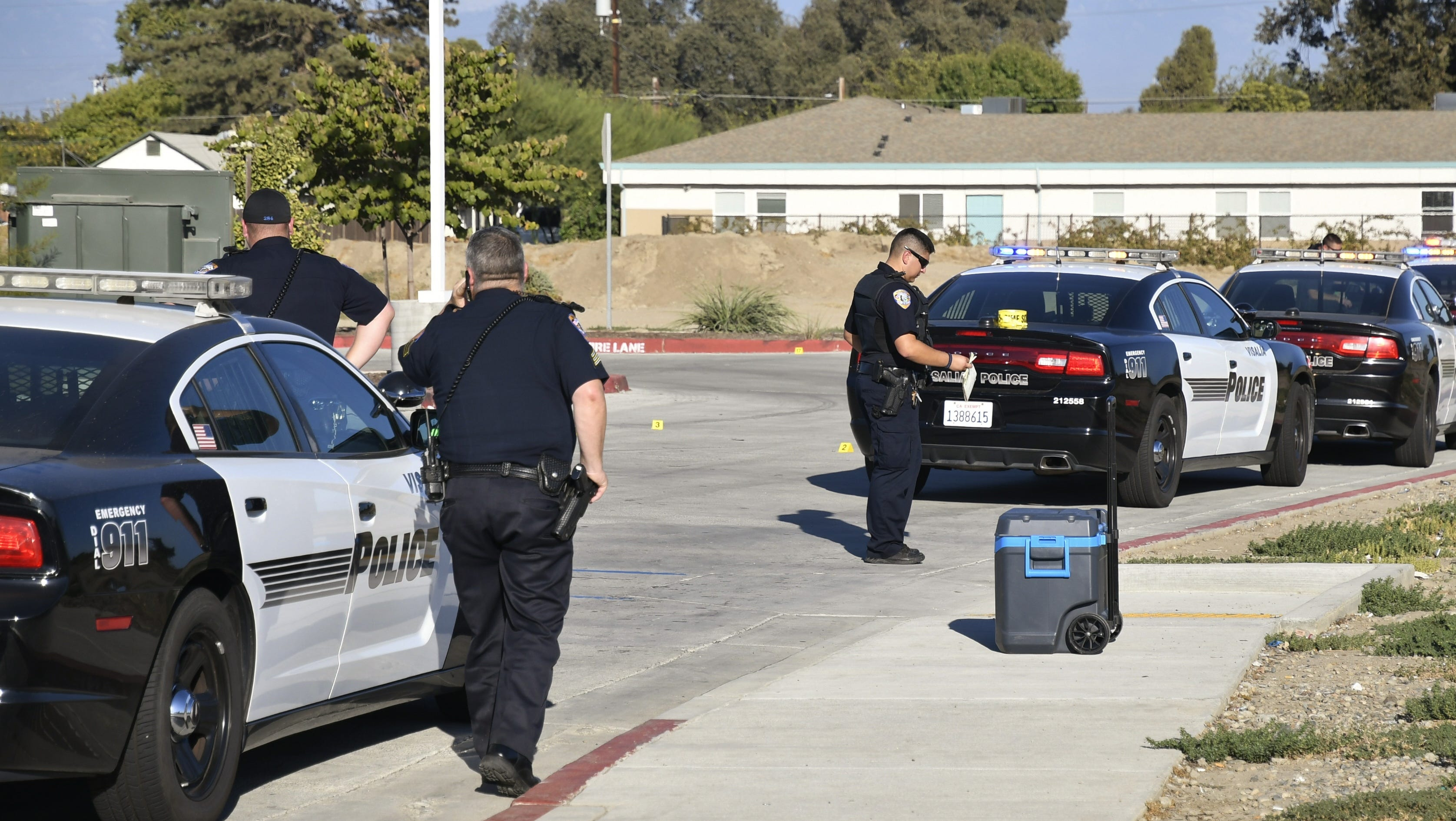 Visalia police investigate an officer-involved shooting near Arco near Lovers Lane on Saturday, Sept. 22.