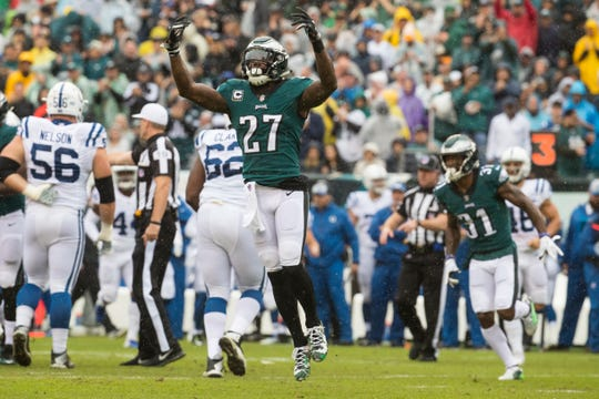 Eagles' Malcolm Jenkins (27) celebrates a defensive stop during September's win against the Colts at Lincoln Financial Field.