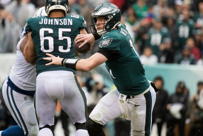 Eagles quarterback Carson Wentz looks for an open receiver downfield Sunday at Lincoln Financial Field. The Eagles defeated the Colts 20-16.