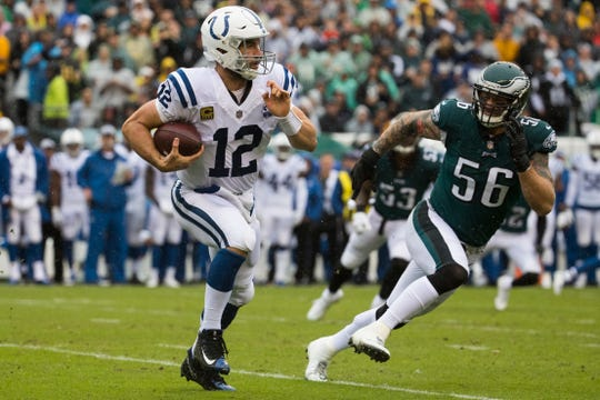Colts quarterback Andrew Luck, shown against the Eagles last Sept. 23, retired Saturday night after a series of injuries over the years.
