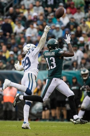 Nelson Agholor, shown against the Indianapolis Colts on Sept. 23, dropped three balls and finished with five catches for only 22 yards against Tennessee on Sunday.
