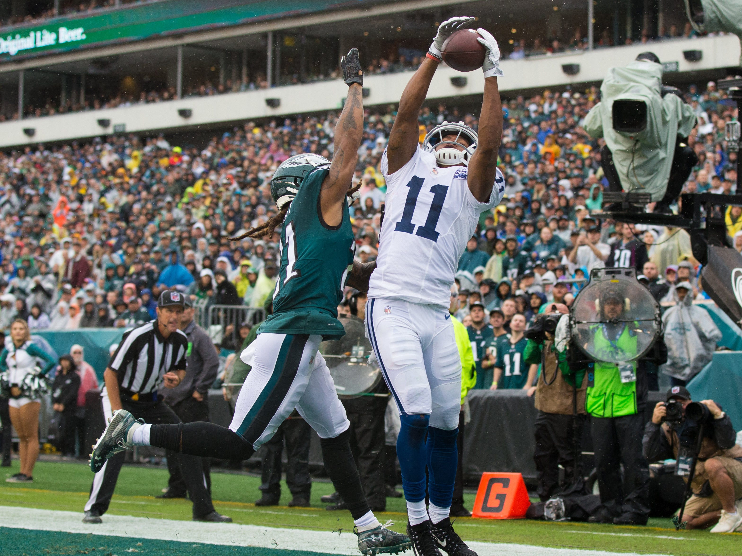 Indianapolis Colts wide receiver Ryan Grant makes a touchdown reception against Philadelphia Eagles cornerback Ronald Darby during the first quarter at Lincoln Financial Field.