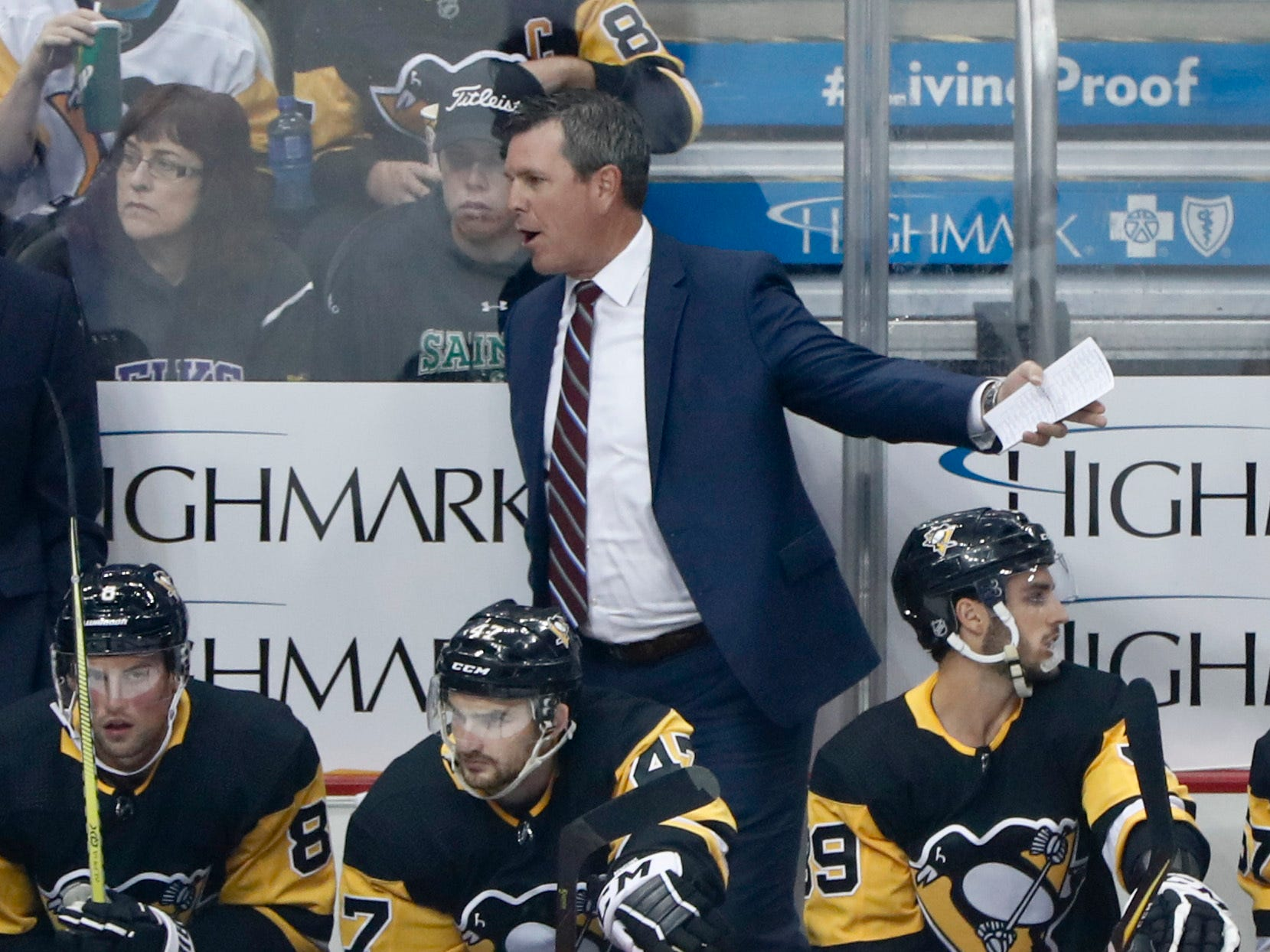 Pittsburgh Penguins head coach Mike Sullivan is back behind the bench after return from leave for the death of his father.