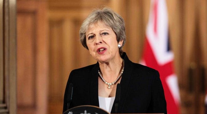 Britain's Prime Minister Theresa May makes a statement on the Brexit negotiations following a European Union summit in Salzburg, at No. 10 Downing Street, central London on Sept. 21, 2018.