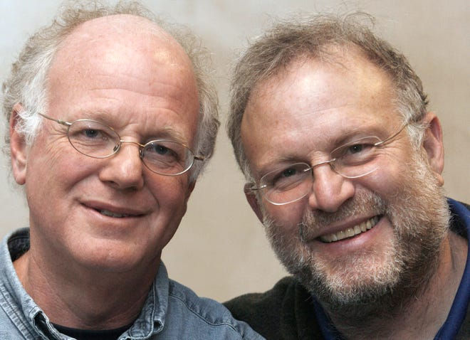 In this April 9, 2010, file photo, Vermont ice cream entrepreneurs Ben Cohen, left, and Jerry Greenfield pose for photos in Burlington, Vermont.