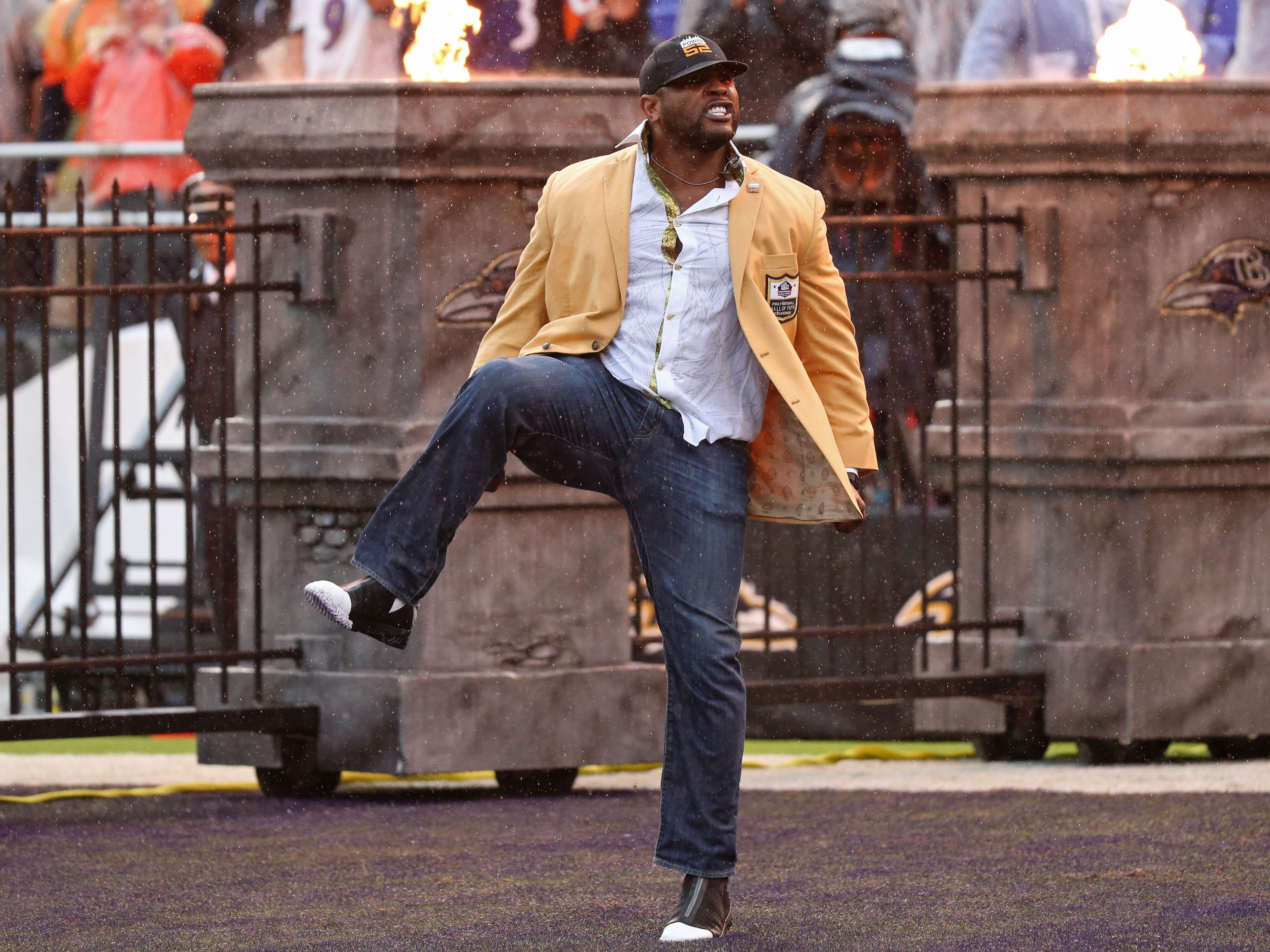 Baltimore Ravens hall of fame linebacker Ray Lewis performs his pregame dance prior to a game against the Denver Broncos at M&T Bank Stadium.