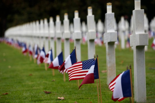 American and French flags are arranged in the Meuse-Argonne cemetery in northeastern France during a remembrance ceremony. The Meuse-Argonne Offensive was the bloodiest battle in American military history.