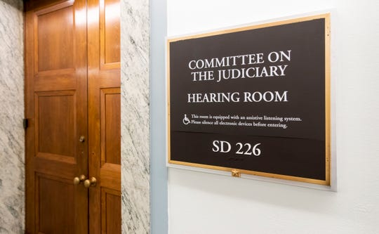 The Senate Judiciary Committee hearing room on Capitol Hill in Washington on Sept. 21, 2018. Brett Kavanaugh and Christine Blasey Ford are scheduled to testify about Ford's sexual assault allegation in the room on Sept. 27, 2018.