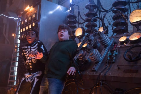 "A couple of pals (Caleel Harris, left, and Jeremy Ray Taylor) need to stop sinister forces invading their town in ""Goosebumps 2: Haunted Halloween."""