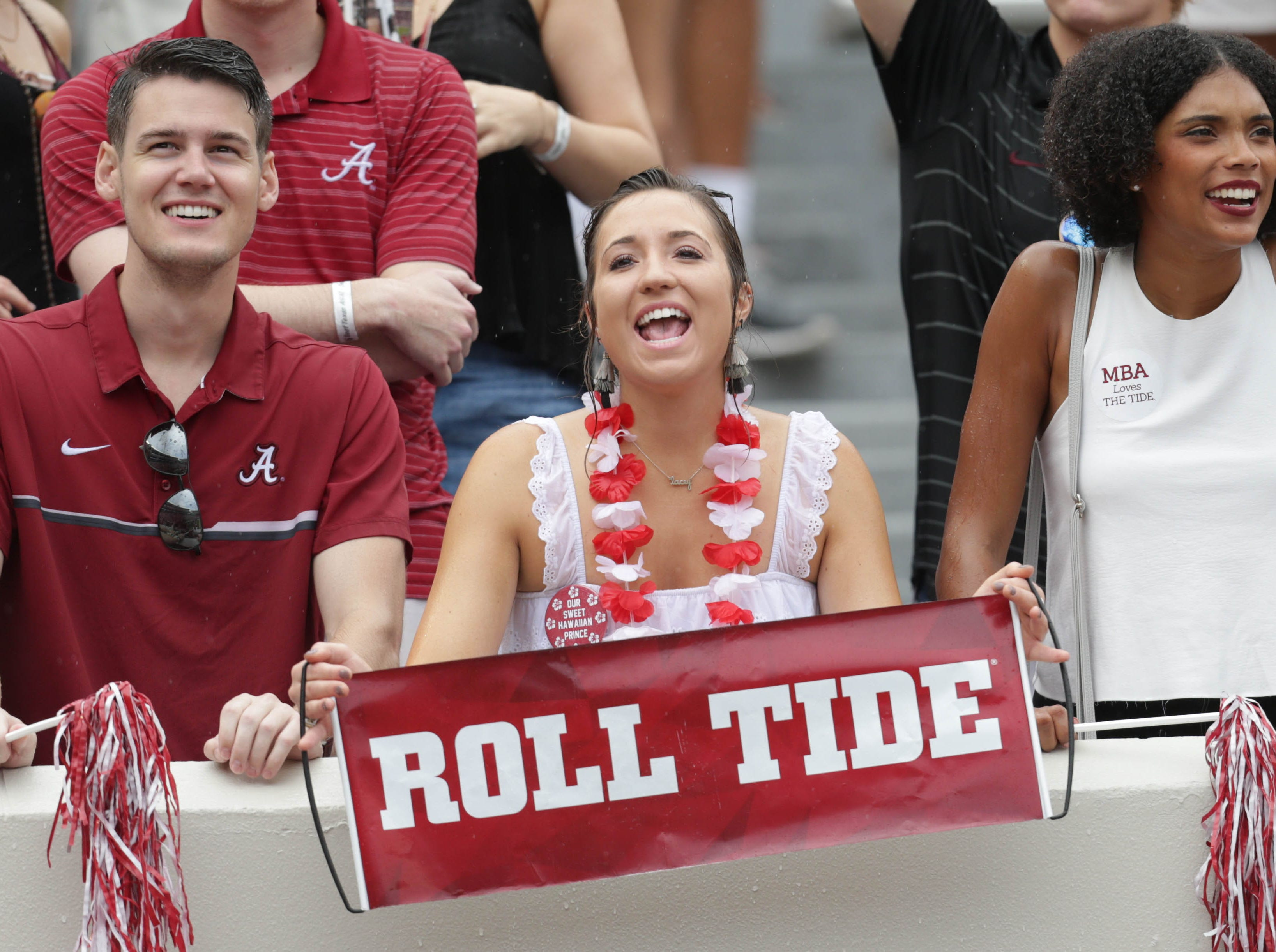 Week 4: Alabama Crimson Tide fans cheer prior to the game against Texas A&M Aggies at Bryant-Denny Stadium.