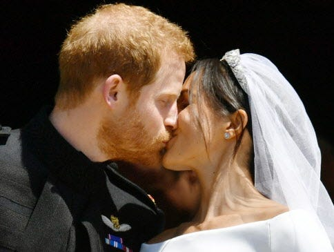 Duchess Meghan's 'something blue' at royal wedding came from first-date dress with Harry