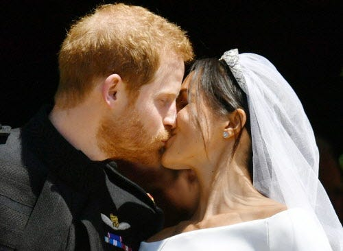 "Prince Harry and Meghan Markle were married in St. George's Chapel in Windsor Castle on May 19. Meghan, now the Duchess of Sussex, says in a new television documentary that a piece of the blue dress she wore on her first date with Prince Harry was sewn into her wedding dress an her ""something blue."""
