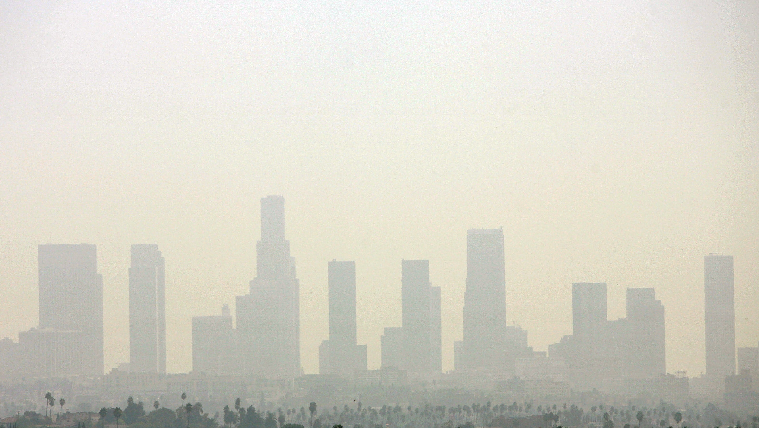 A file picture taken on September 20, 2006 shows the air pollution over Downtown Los Angeles.