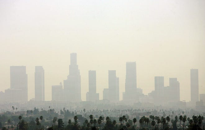 A file photo taken on September 20, 2006, shows the pollution over Downtown Los Angeles.